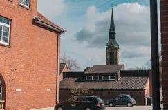 European church in vintage style stock photo