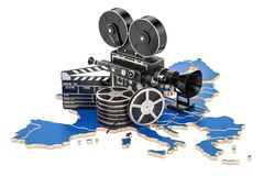European cinematography, film industry concept. 3D rendering. On white background Royalty Free Stock Image