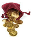 European circulation gold coins. Various European circulation gold coins from the 19th/20th century in a velvet purse isolated on white background Stock Photography
