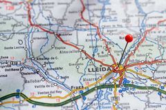 Sweden Stockholm, 07 April 2018: European cities on map series. Closeup of Lleida. European cities on map series. Closeup of Lleida Stock Photography