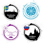 European cities stamps Stock Image