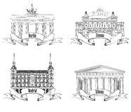 European cities symbols sketch set: Athens, Berlin, Madrid, Vienna. Stock Images