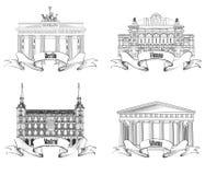 European cities symbols sketch set: Athens, Berlin, Madrid, Vienna. Stock Images