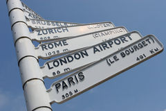 European City Air Travel Sign. Airport sign indicating travel distances and directions to European capital cities stock photo