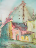 European city buildings abstract painting on silk. royalty free illustration