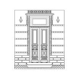 European city facade. Old European style buildings. Vector illustration of flat style Royalty Free Stock Photography