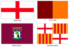 European city flags set Royalty Free Stock Image
