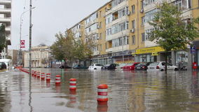 European city flooded after a heavy rain Stock Images