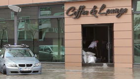 European city after a heavy rain. Tulcea, Romania - September 13, 2013: European city after a heavy rain stock footage