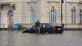 European city after a heavy rain. Tulcea, Romania - September 13, 2013: European city flooded after a heavy rain stock video