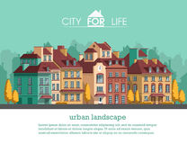 European city with historical buildings. Traditional architecture landscape. Flat vector illustration. 3d style Stock Photos