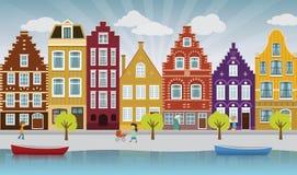 European city illustration. Vector illustration of european city street (Amsterdam Stock Photo