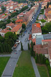 European city with red roof tiles, bird view Stock Images