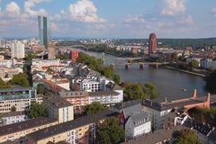 European city, river and bridges. Frankfurt am Main, Germany. 03-09-2017 royalty free stock images