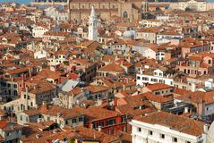 European city rooftops. Bird's eye view perspective on a city's rooftops and houses Royalty Free Stock Photo