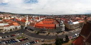 European city scape. Panoramic aerial view of Cluj-Napoca city Romania, an european city Stock Photo