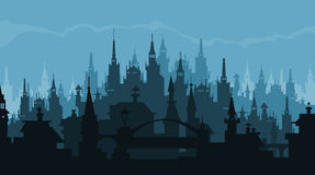 European city silhouette of buildings in gothic style Royalty Free Stock Photography