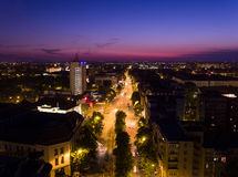 European city skyline seen by a professional drone at night Stock Photography