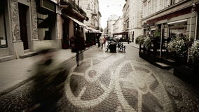 European city street with people time lapse and clock mechanism concept moving Stock Photos