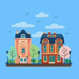 European City Urban Landscape with Vintage Houses Royalty Free Stock Photography