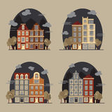 European cityscape. Amsterdam houses. Set of flat style vector illustration stock illustration