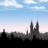 European cityscape. Old  city morning skyline Stock Photography