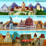 European Cityscapes Banners Set Stock Images