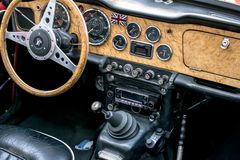 European classic cars - old timer interior stock image