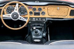 European classic cars - old timer interior royalty free stock photos