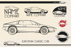 European classic sports car, silhouettes, logo Stock Image