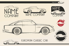 European classic sports car, silhouettes, logo Royalty Free Stock Images