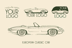 European classic sports car, silhouettes Royalty Free Stock Photography