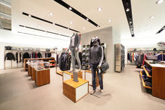 European clothing store with huge collection Stock Image