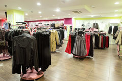 European clothing store with huge collection Royalty Free Stock Photography