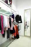 European clothing store with huge collection Stock Photos