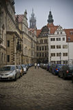 European cobblestone street Stock Photos