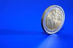 European Coin On Blue Royalty Free Stock Photos