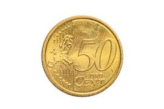 Europe 50 euro cents. The European coin of 50 cents of euro close-up of united Europe, tail side. Isolated on white studio background Royalty Free Stock Image