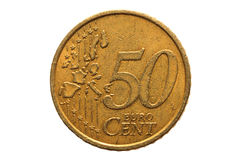 European coin with a nominal value of fifty Euro cents. royalty free stock photo