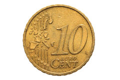 European coin with a nominal value of ten Euro cents isolated on white background. Macro picture of European coins. Stock Image