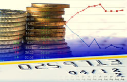 European coins credit card and charts Stock Photo