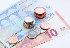 European Coins and Euro notes Royalty Free Stock Photo