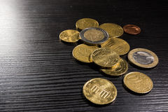 European Coins Euros Stack Metal Colors Currency Desk Black Royalty Free Stock Image