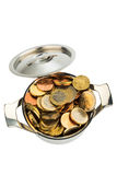 European coins. A pot is filled with euro coins photo icon for government grants and subsidies Stock Image