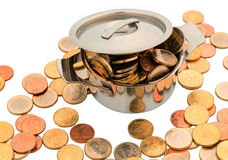 European coins. A pot is filled with euro coins, symbolic photo for funding Stock Photos