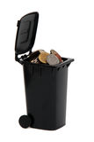 European coins in rubbish bin Royalty Free Stock Image