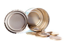 European coins in tin Royalty Free Stock Photo