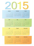 European color vector calendar 2015. European school 2015 color bright vector calendar. Week starts from Sunday Stock Image