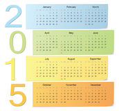 European color vector calendar 2015. European 2015 color vector calendar with vertical numbers. Week starts from Sunday Royalty Free Stock Photography