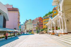 Karlovy Vary, colorful buildings and street in Czech
